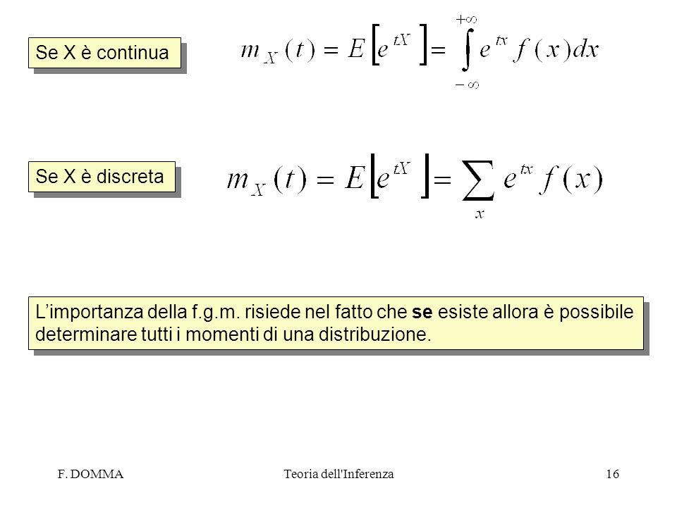 F. DOMMATeoria dell'Inferenza16 Se X è continua Se X è discreta Limportanza della f.g.m. risiede nel fatto che se esiste allora è possibile determinar