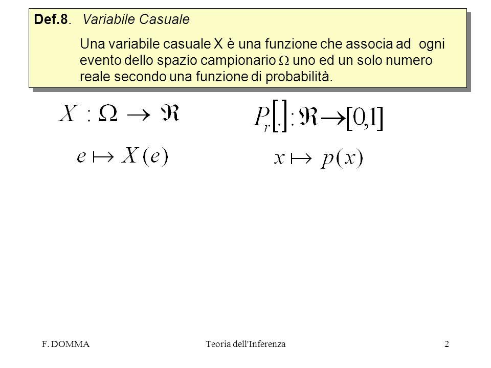 F. DOMMATeoria dell'Inferenza2 Def.8. Variabile Casuale Una variabile casuale X è una funzione che associa ad ogni evento dello spazio campionario uno