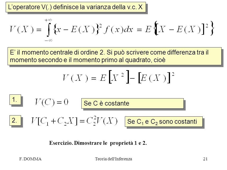 F. DOMMATeoria dell'Inferenza21 Loperatore V(.) definisce la varianza della v.c. X E il momento centrale di ordine 2. Si può scrivere come differenza