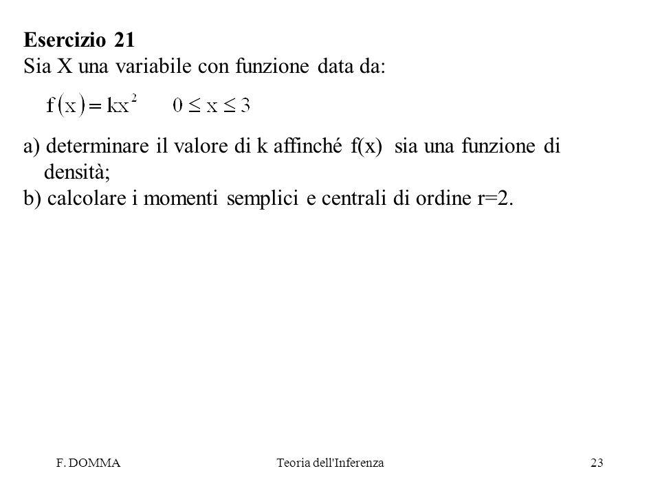 F. DOMMATeoria dell'Inferenza23 Esercizio 21 Sia X una variabile con funzione data da: a) determinare il valore di k affinché f(x) sia una funzione di