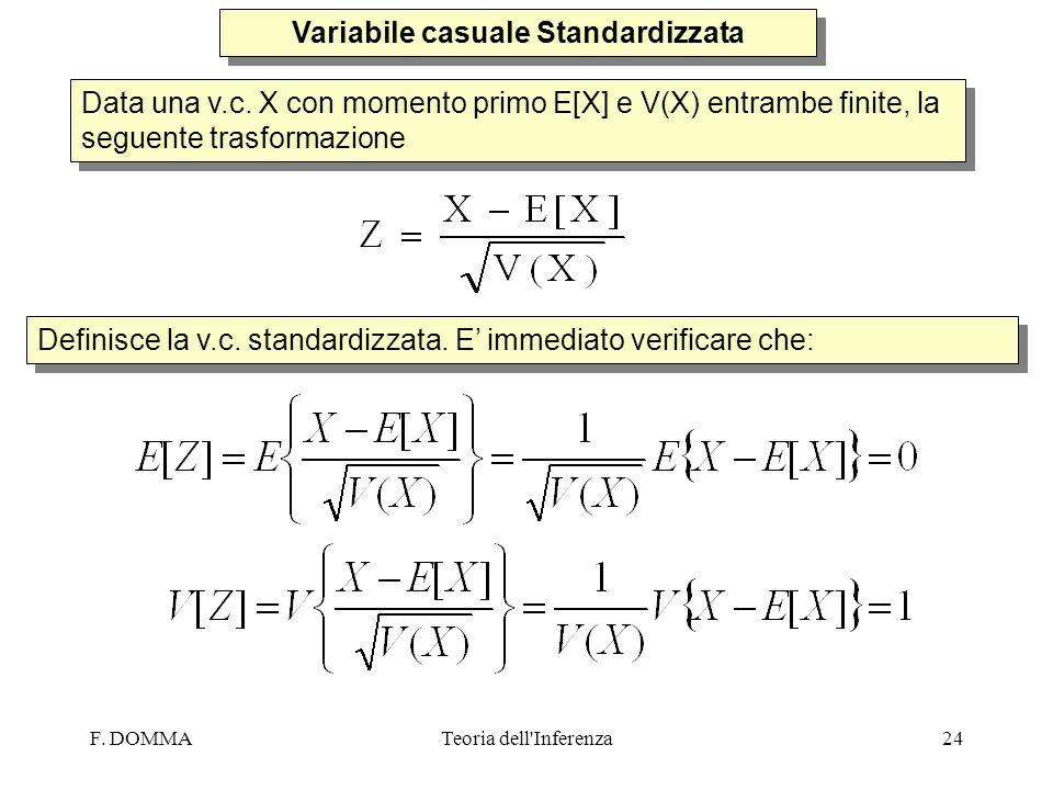 F. DOMMATeoria dell'Inferenza24 Variabile casuale Standardizzata Data una v.c. X con momento primo E[X] e V(X) entrambe finite, la seguente trasformaz