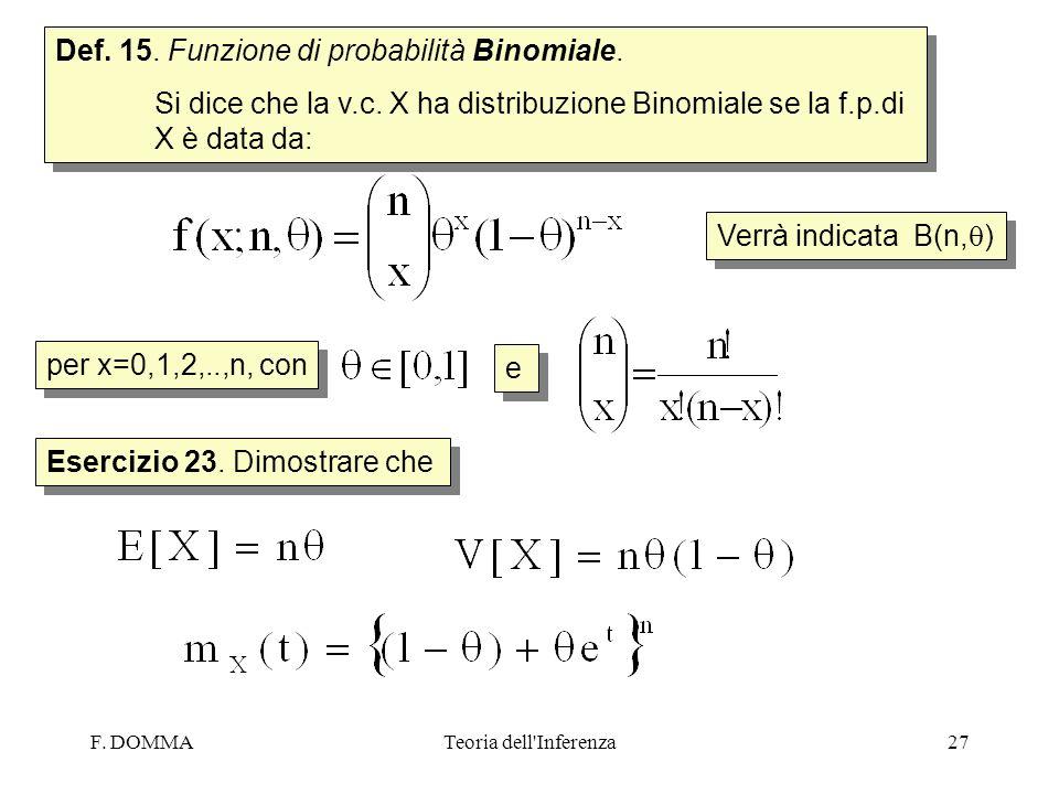 F. DOMMATeoria dell'Inferenza27 Def. 15. Funzione di probabilità Binomiale. Si dice che la v.c. X ha distribuzione Binomiale se la f.p.di X è data da: