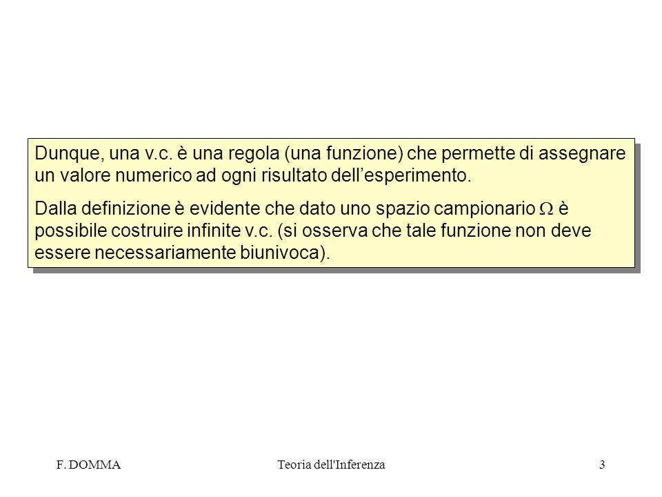F. DOMMATeoria dell'Inferenza3 Dunque, una v.c. è una regola (una funzione) che permette di assegnare un valore numerico ad ogni risultato dellesperim