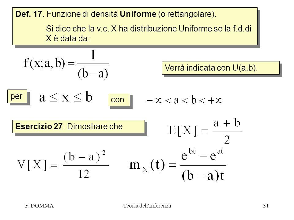 F. DOMMATeoria dell'Inferenza31 Def. 17. Funzione di densità Uniforme (o rettangolare). Si dice che la v.c. X ha distribuzione Uniforme se la f.d.di X