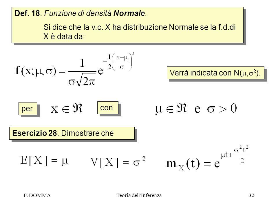 F. DOMMATeoria dell'Inferenza32 Def. 18. Funzione di densità Normale. Si dice che la v.c. X ha distribuzione Normale se la f.d.di X è data da: Def. 18