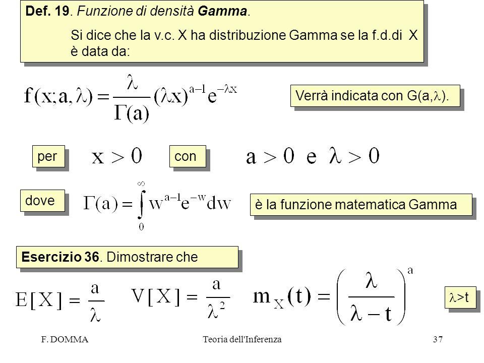 F. DOMMATeoria dell'Inferenza37 Def. 19. Funzione di densità Gamma. Si dice che la v.c. X ha distribuzione Gamma se la f.d.di X è data da: Def. 19. Fu
