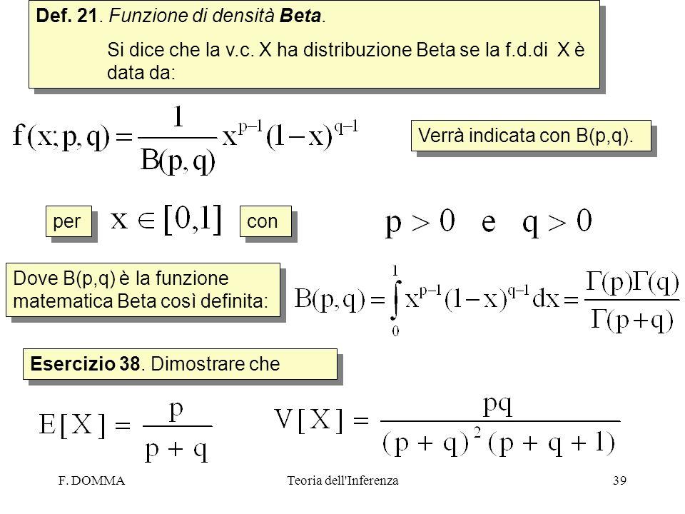 F. DOMMATeoria dell'Inferenza39 Def. 21. Funzione di densità Beta. Si dice che la v.c. X ha distribuzione Beta se la f.d.di X è data da: Def. 21. Funz