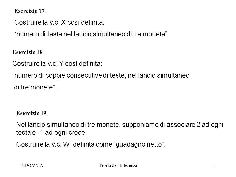 F. DOMMATeoria dell'Inferenza4 Esercizio 17. Costruire la v.c. X così definita: numero di teste nel lancio simultaneo di tre monete. Esercizio 18. Cos