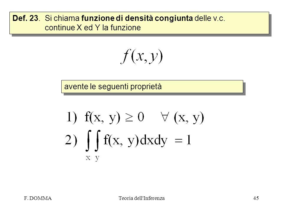 F. DOMMATeoria dell'Inferenza45 Def. 23. Si chiama funzione di densità congiunta delle v.c. continue X ed Y la funzione avente le seguenti proprietà
