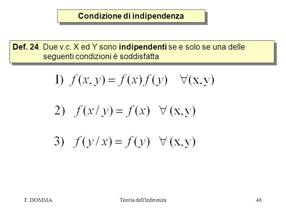 F. DOMMATeoria dell'Inferenza46 Condizione di indipendenza Def. 24. Due v.c. X ed Y sono indipendenti se e solo se una delle seguenti condizioni è sod