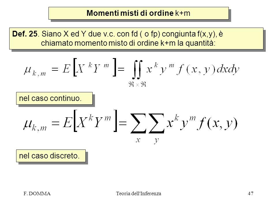 F. DOMMATeoria dell'Inferenza47 Momenti misti di ordine k+m Def. 25. Siano X ed Y due v.c. con fd ( o fp) congiunta f(x,y), è chiamato momento misto d