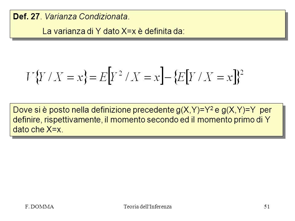 F. DOMMATeoria dell'Inferenza51 Def. 27. Varianza Condizionata. La varianza di Y dato X=x è definita da: Def. 27. Varianza Condizionata. La varianza d