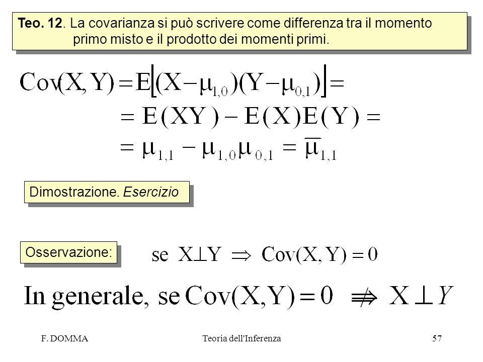 F. DOMMATeoria dell'Inferenza57 Teo. 12. La covarianza si può scrivere come differenza tra il momento primo misto e il prodotto dei momenti primi. Dim