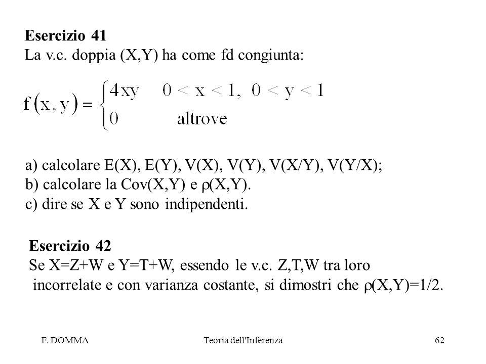 F. DOMMATeoria dell'Inferenza62 Esercizio 41 La v.c. doppia (X,Y) ha come fd congiunta: a) calcolare E(X), E(Y), V(X), V(Y), V(X/Y), V(Y/X); b) calcol