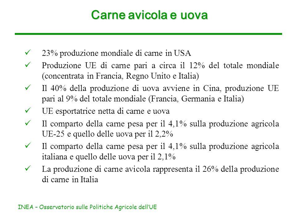 INEA – Osservatorio sulle Politiche Agricole dellUE Carne avicola e uova 23% produzione mondiale di carne in USA Produzione UE di carne pari a circa il 12% del totale mondiale (concentrata in Francia, Regno Unito e Italia) Il 40% della produzione di uova avviene in Cina, produzione UE pari al 9% del totale mondiale (Francia, Germania e Italia) UE esportatrice netta di carne e uova Il comparto della carne pesa per il 4,1% sulla produzione agricola UE-25 e quello delle uova per il 2,2% Il comparto della carne pesa per il 4,1% sulla produzione agricola italiana e quello delle uova per il 2,1% La produzione di carne avicola rappresenta il 26% della produzione di carne in Italia