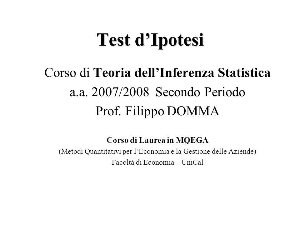 Test d IpotesiF.Domma22 Definizione. Rapporto di verosimiglianza Generalizzato.