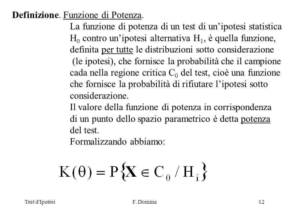 Test d IpotesiF. Domma12 Definizione. Funzione di Potenza.