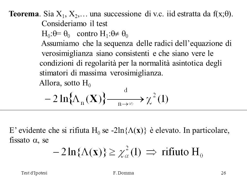 Test d IpotesiF. Domma26 Teorema. Sia X 1, X 2,… una successione di v.c.