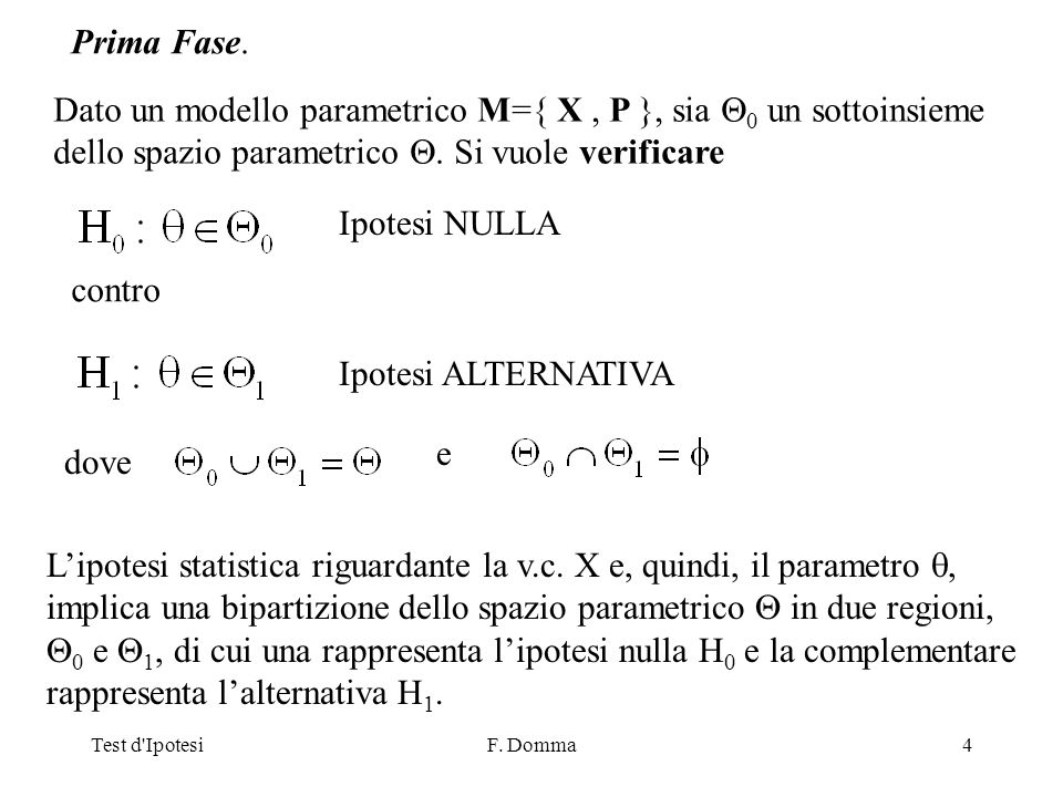 Test d IpotesiF.Domma35 TEST sui parametri di una v.c.
