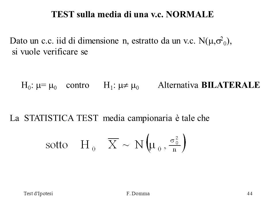 Test d IpotesiF. Domma44 TEST sulla media di una v.c.