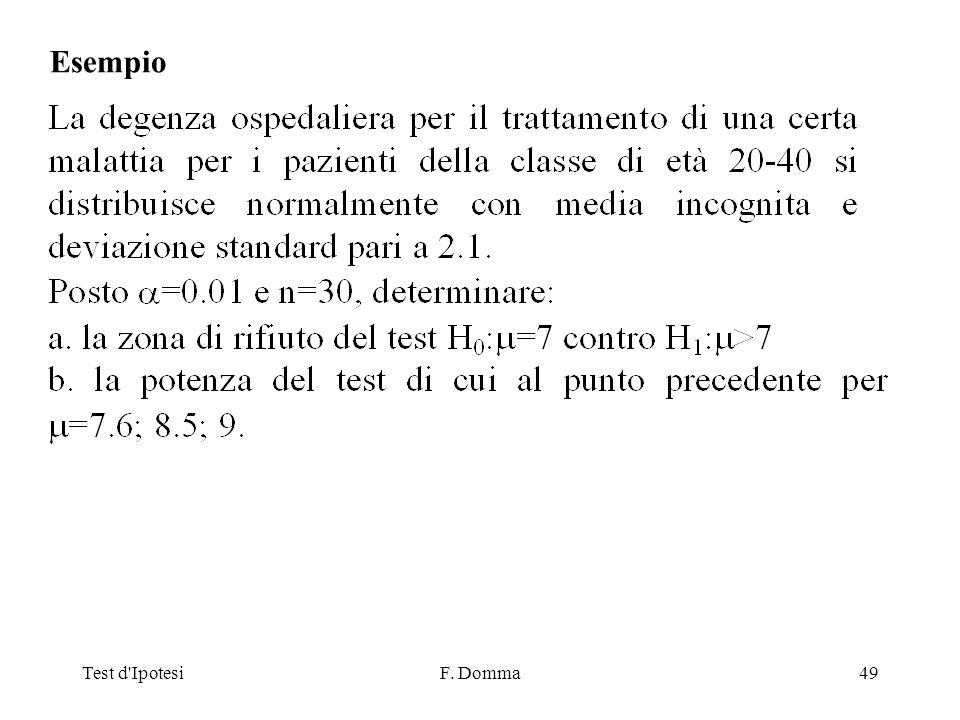 Test d IpotesiF. Domma49 Esempio