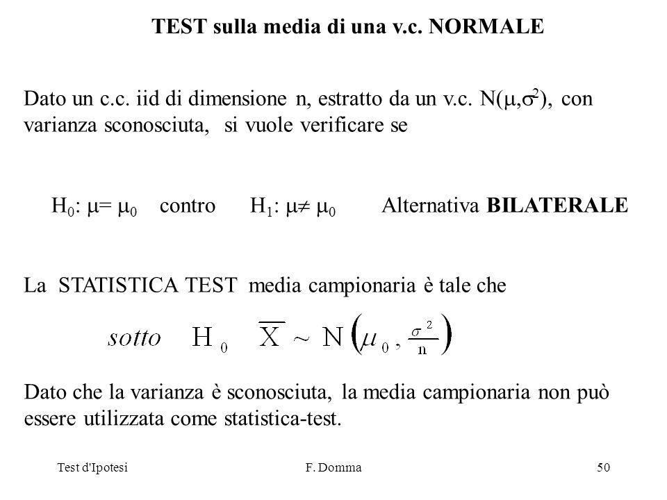 Test d IpotesiF. Domma50 TEST sulla media di una v.c.