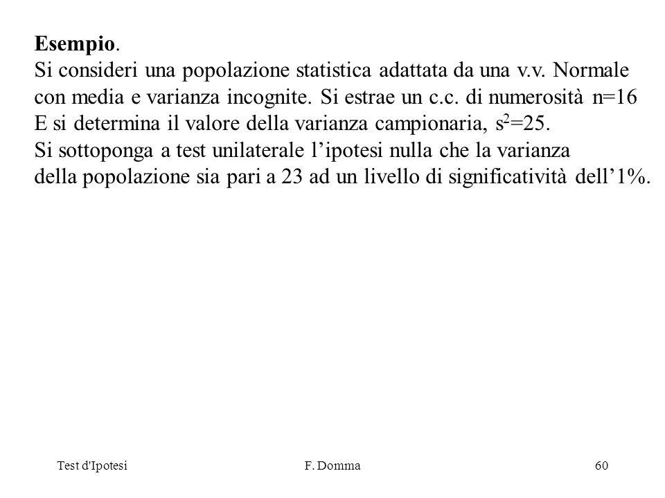 Test d IpotesiF. Domma60 Esempio. Si consideri una popolazione statistica adattata da una v.v.