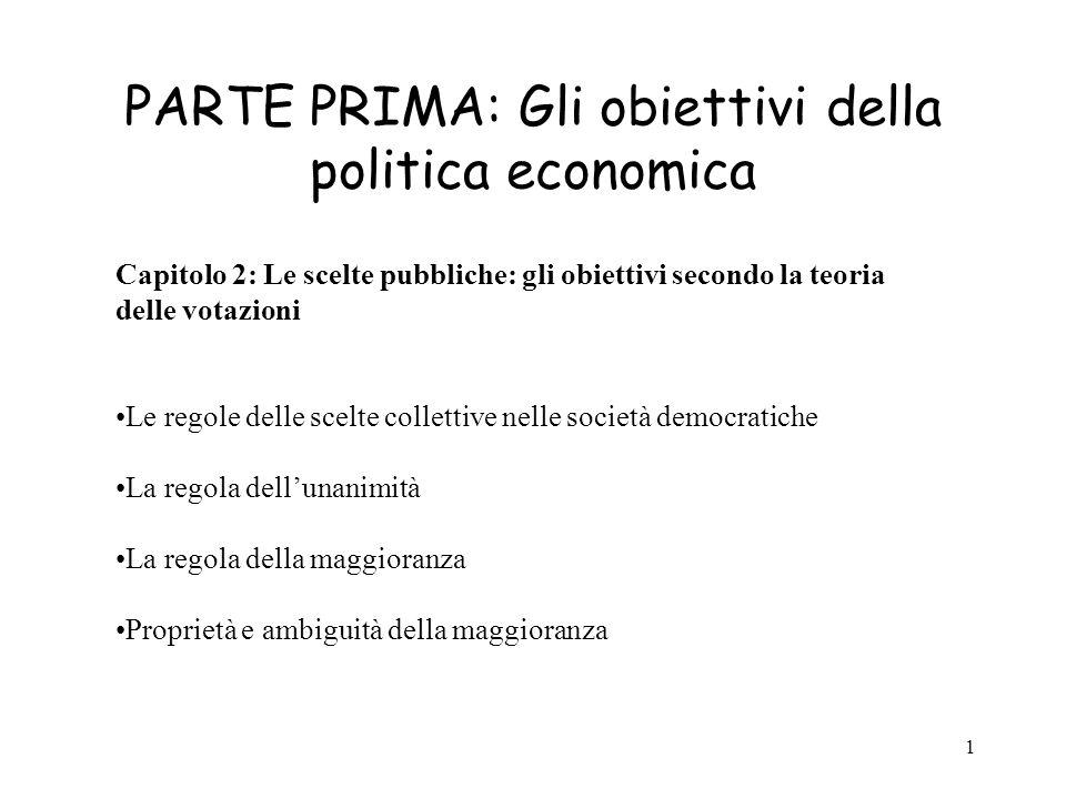 1 PARTE PRIMA: Gli obiettivi della politica economica Capitolo 2: Le scelte pubbliche: gli obiettivi secondo la teoria delle votazioni Le regole delle