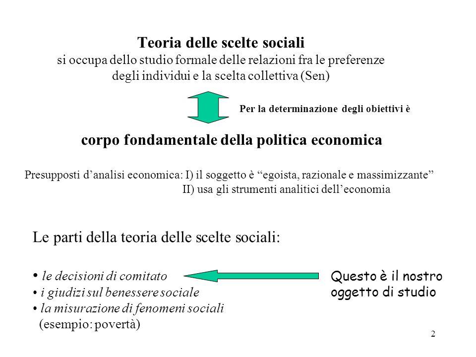 2 Teoria delle scelte sociali si occupa dello studio formale delle relazioni fra le preferenze degli individui e la scelta collettiva (Sen) corpo fond