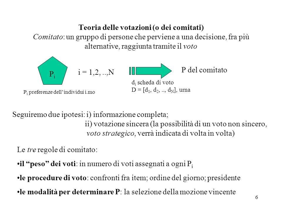 7 Le procedure di voto Il caso di due item x vs y Preferenze individuali: d i = +1 (se x P i y); 1 (se y P i x); 0 (se x I i y) regola di voto, urna: D = (d 1, d 2, d 3, …, d N ) modalità di selezione (regola di aggregazione): d = f(D), d = +1, -1, 0 f: D N d 1