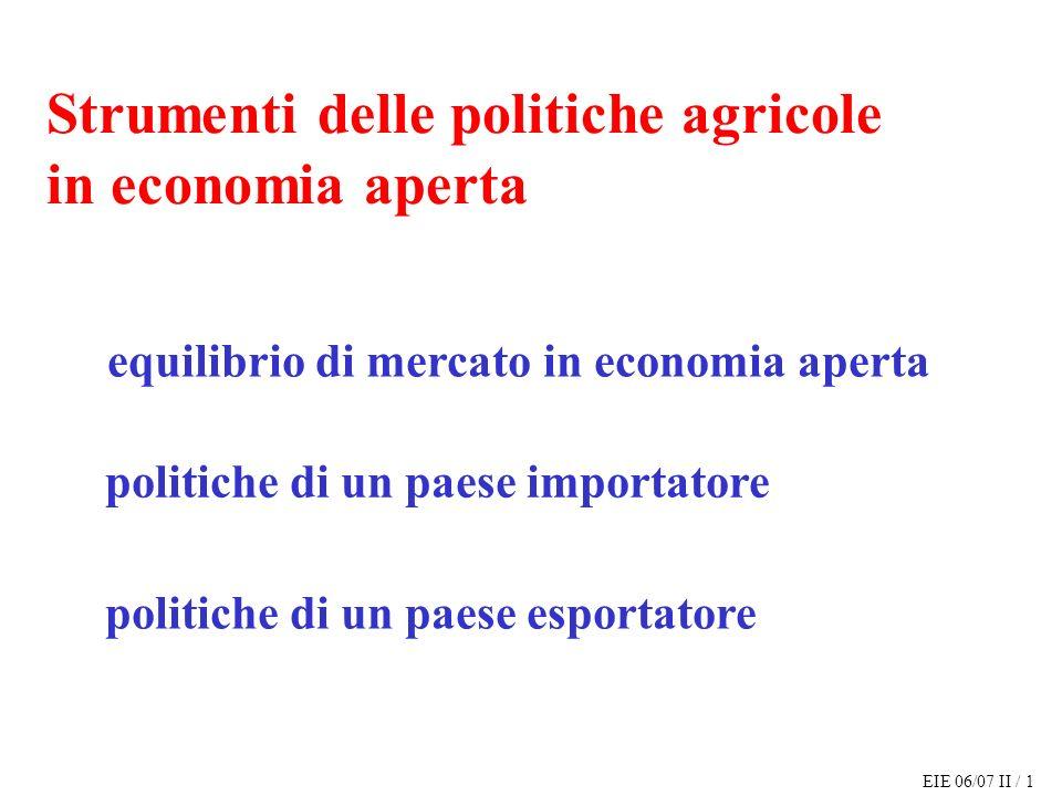 EIE 06/07 II / 12 offerta di esportazioni di A: ES a (P) = S a (P) – D a (P) domanda di importazioni di B: ED b (P) = D b (P) - S b (P) equilibrio di mercato in economia aperta (costi di trasporto nulli)
