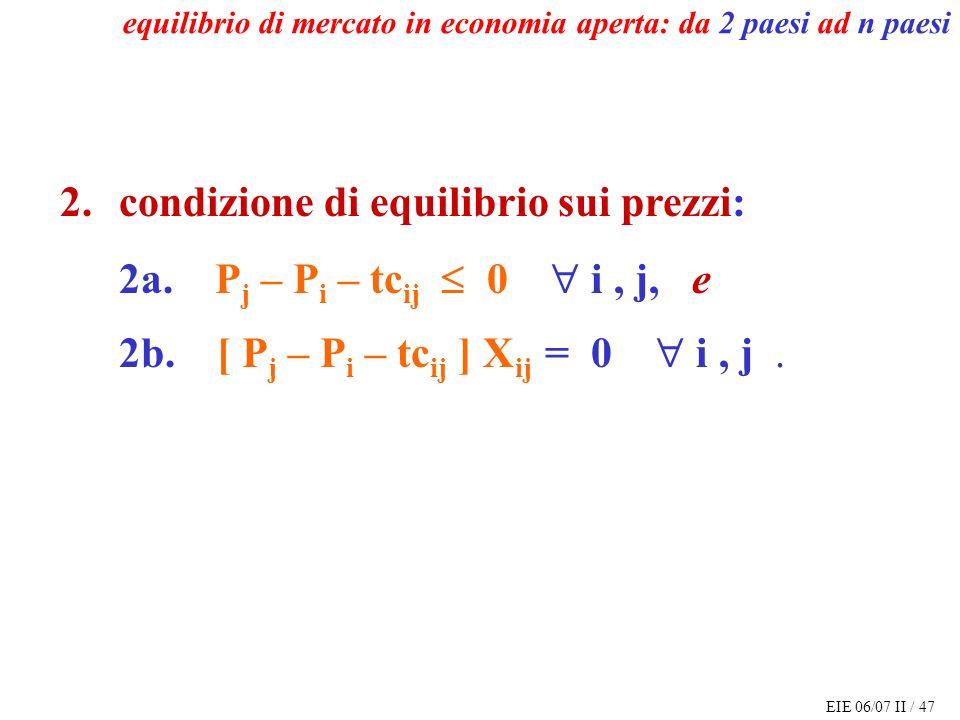 EIE 06/07 II / 47 equilibrio di mercato in economia aperta: da 2 paesi ad n paesi 2.condizione di equilibrio sui prezzi: 2a.