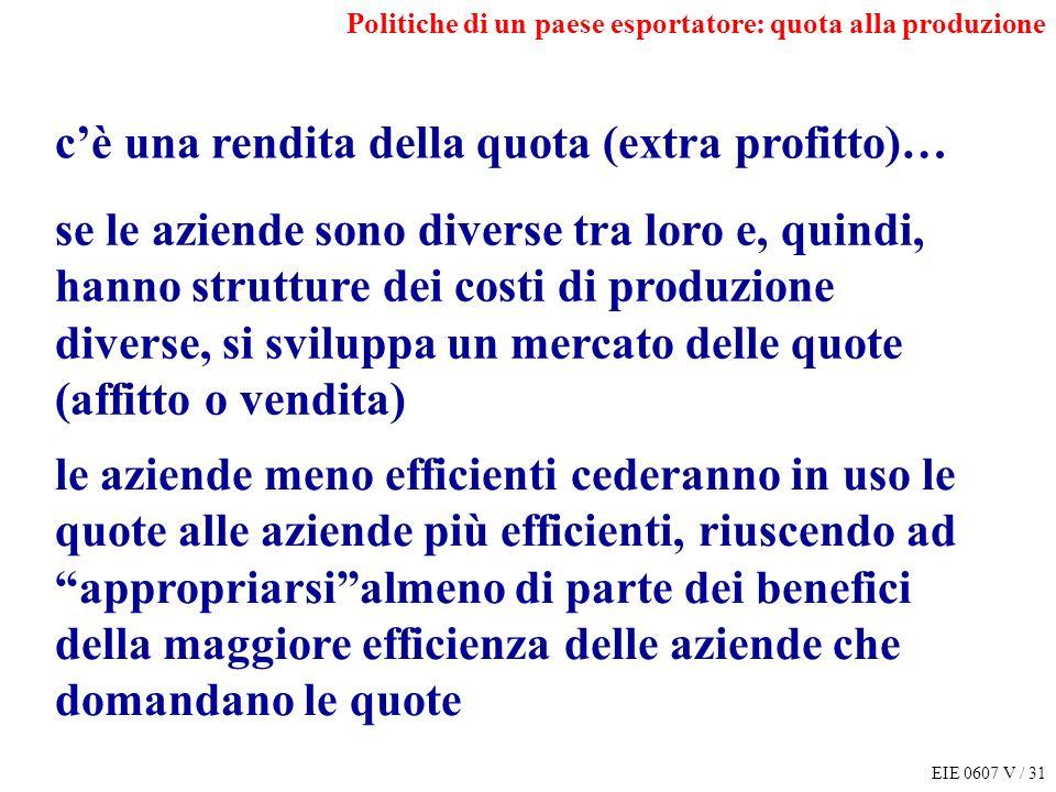 EIE 0607 V / 31 Politiche di un paese esportatore: quota alla produzione cè una rendita della quota (extra profitto)… se le aziende sono diverse tra l