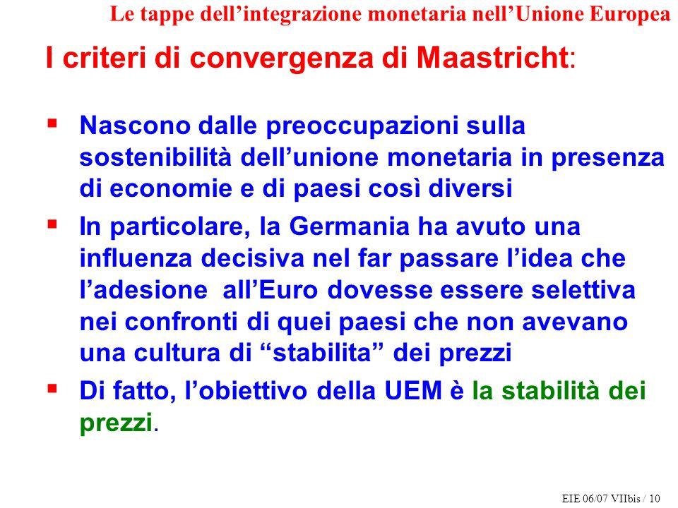 EIE 06/07 VIIbis / 10 Le tappe dellintegrazione monetaria nellUnione Europea I criteri di convergenza di Maastricht: Nascono dalle preoccupazioni sull