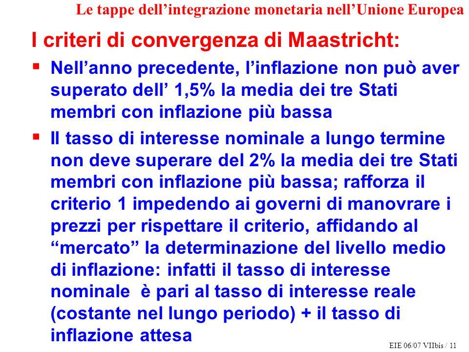 EIE 06/07 VIIbis / 11 Le tappe dellintegrazione monetaria nellUnione Europea I criteri di convergenza di Maastricht: Nellanno precedente, linflazione