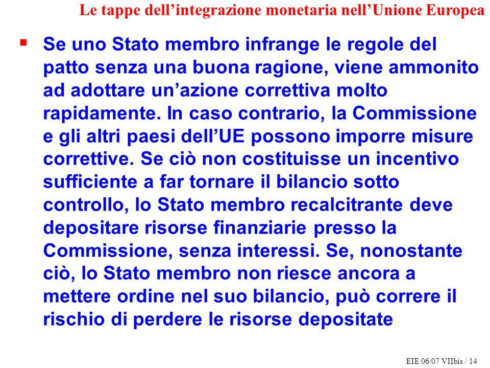 EIE 06/07 VIIbis / 14 Le tappe dellintegrazione monetaria nellUnione Europea Se uno Stato membro infrange le regole del patto senza una buona ragione,
