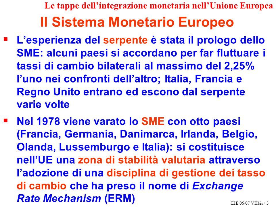 EIE 06/07 VIIbis / 3 Le tappe dellintegrazione monetaria nellUnione Europea Lesperienza del serpente è stata il prologo dello SME: alcuni paesi si acc