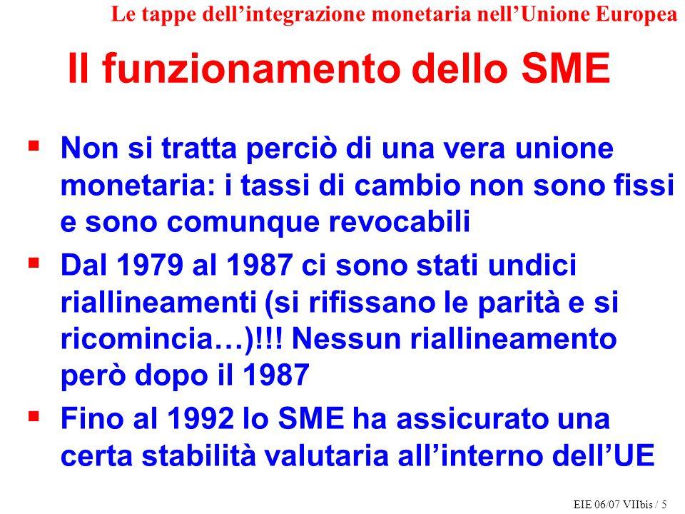 EIE 06/07 VIIbis / 5 Le tappe dellintegrazione monetaria nellUnione Europea Non si tratta perciò di una vera unione monetaria: i tassi di cambio non s