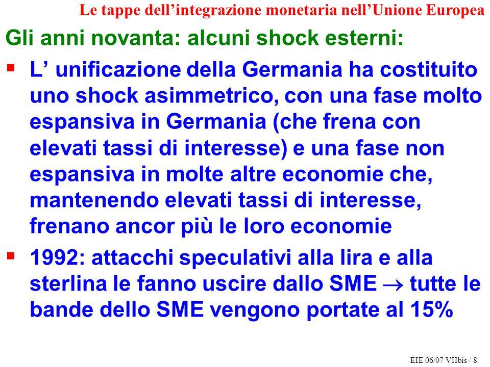 EIE 06/07 VIIbis / 8 Le tappe dellintegrazione monetaria nellUnione Europea Gli anni novanta: alcuni shock esterni: L unificazione della Germania ha c
