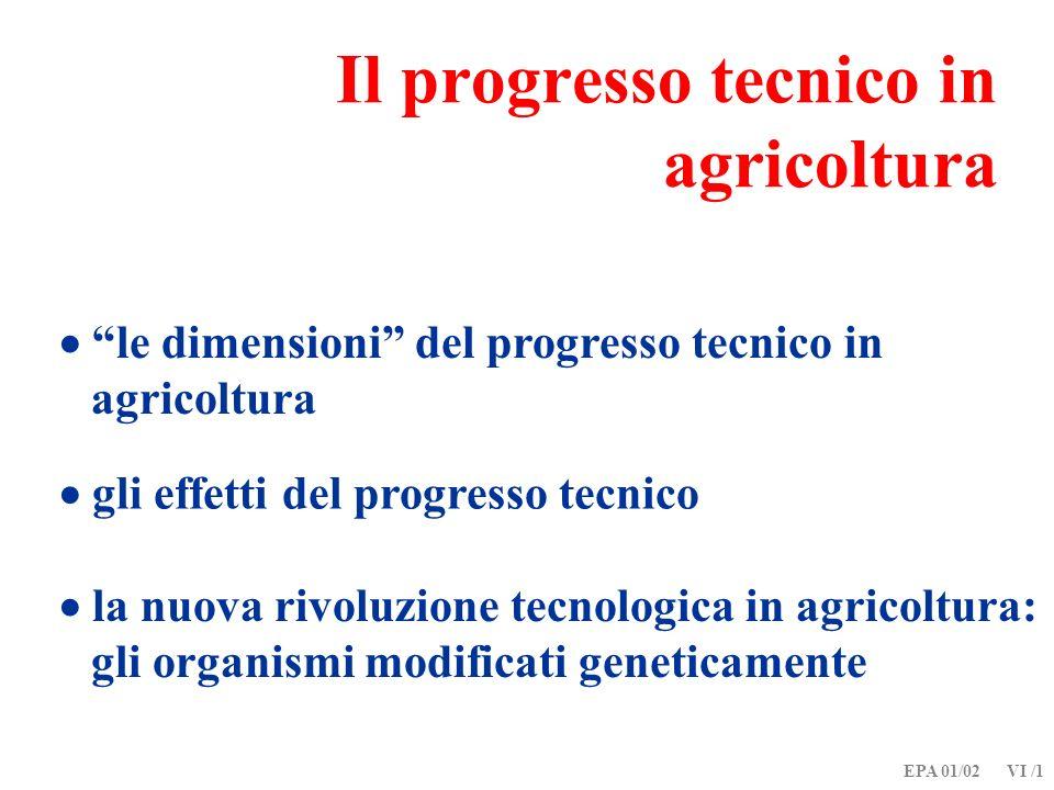 EPA 01/02 VI /1 Il progresso tecnico in agricoltura le dimensioni del progresso tecnico in agricoltura gli effetti del progresso tecnico la nuova rivo