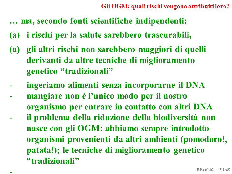 EPA 01/02 VI /45 Gli OGM: quali rischi vengono attribuiti loro? … ma, secondo fonti scientifiche indipendenti: (a)i rischi per la salute sarebbero tra