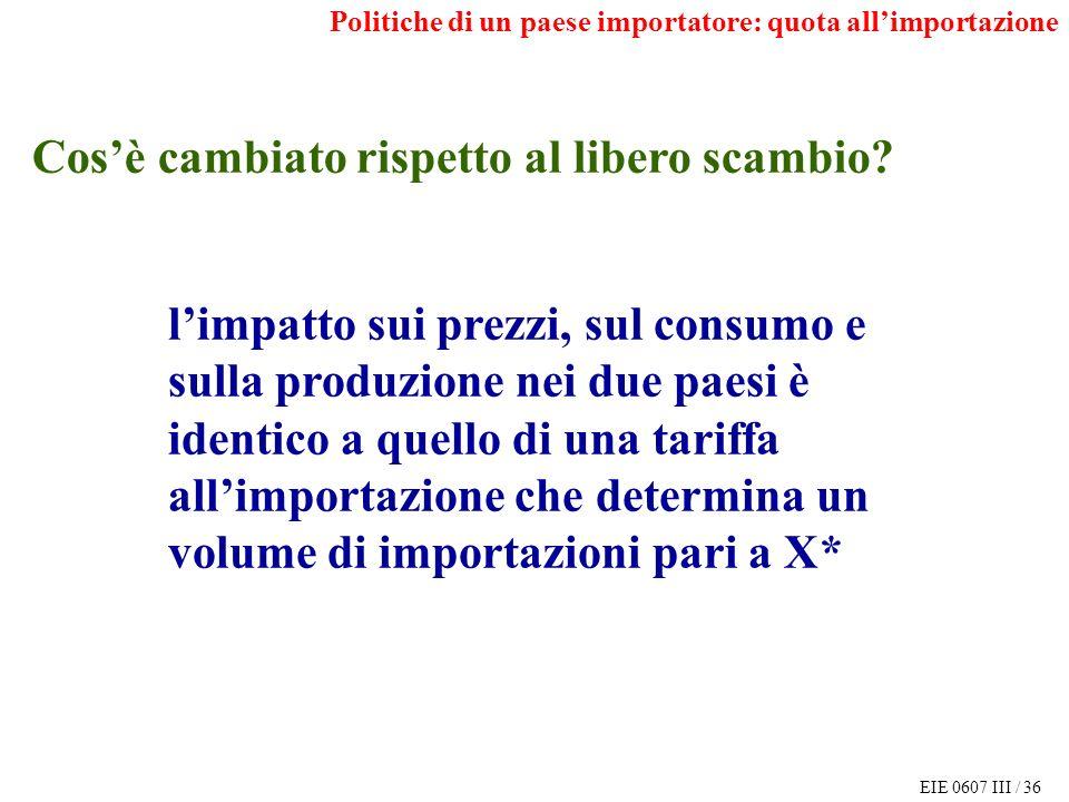 EIE 0607 III / 36 Politiche di un paese importatore: quota allimportazione Cosè cambiato rispetto al libero scambio.
