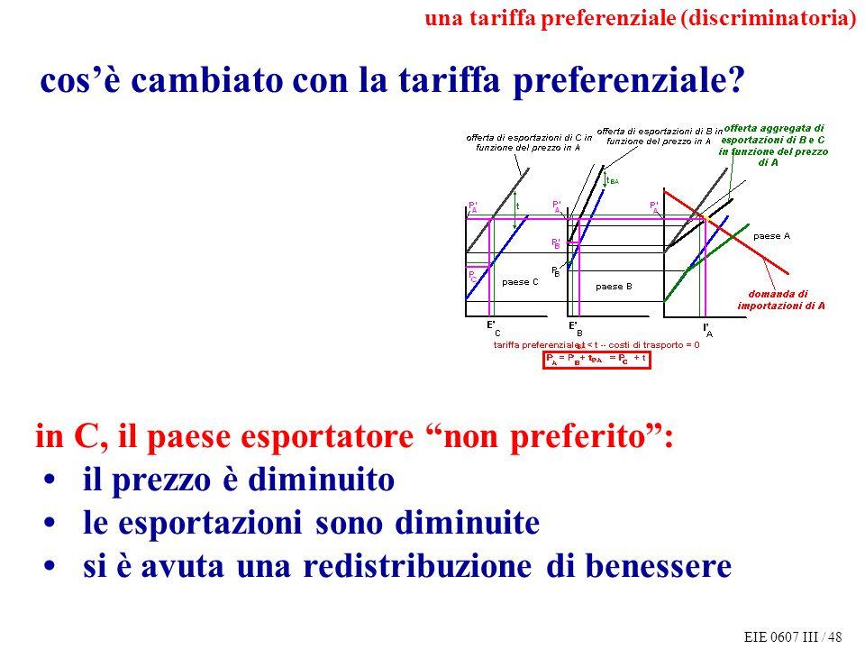 EIE 0607 III / 48 cosè cambiato con la tariffa preferenziale.