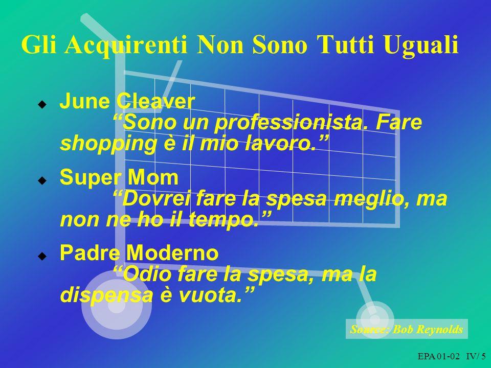 EPA 01-02 IV/ 5 Gli Acquirenti Non Sono Tutti Uguali June Cleaver Sono un professionista.
