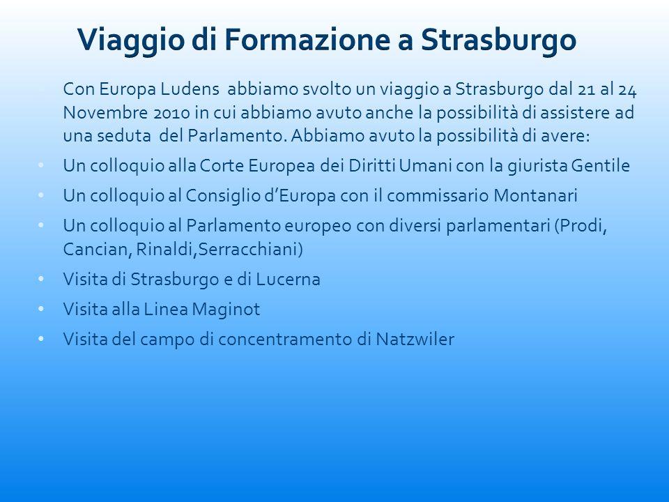 Con Europa Ludens abbiamo svolto un viaggio a Strasburgo dal 21 al 24 Novembre 2010 in cui abbiamo avuto anche la possibilità di assistere ad una sedu