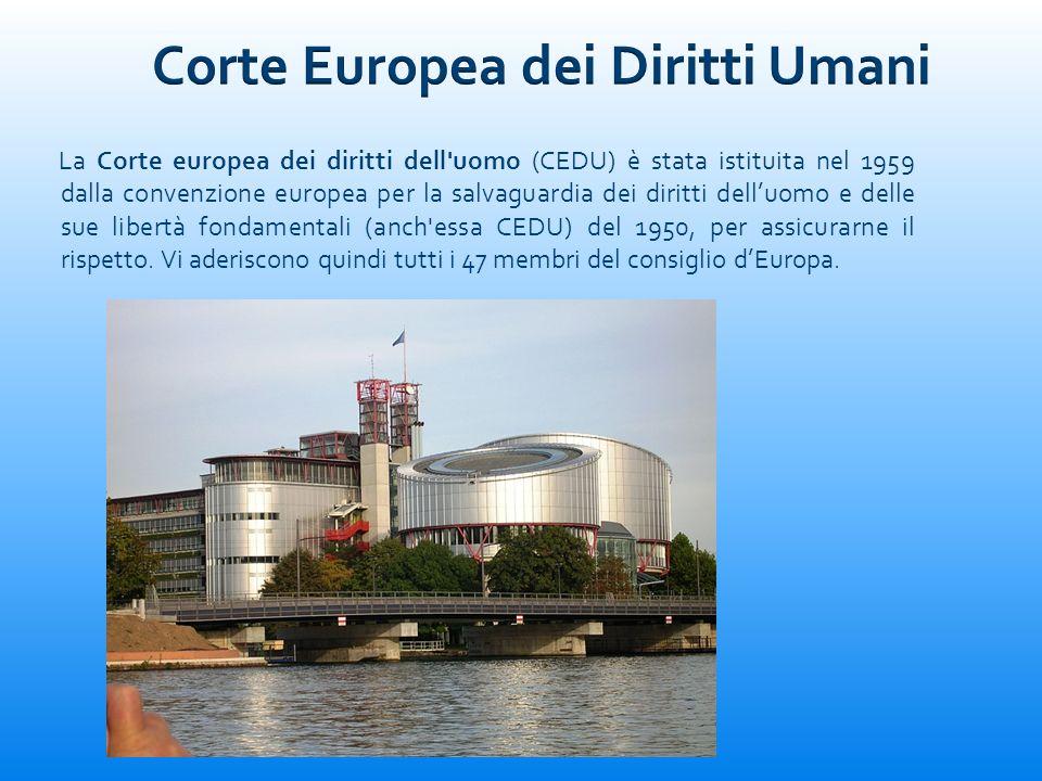 La Corte europea dei diritti dell'uomo (CEDU) è stata istituita nel 1959 dalla convenzione europea per la salvaguardia dei diritti delluomo e delle su