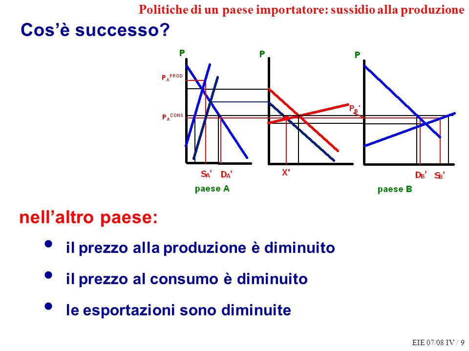 EIE 07/08 IV / 10 IMPORTATORE ESPORTATORE CONS PROD BIL PUBBL CONS PROD Tariffa allimportaz.