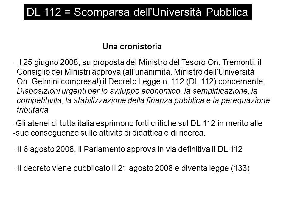 DL 112 = Scomparsa dellUniversità Pubblica 2) Riduzione del turn-over del personale Il DL 112 fissa un limite massimo di i) 1 su 10 per il 2009 ii) 1 su 5 per il 2010 ed il 2011 iii) 1 su 2 per il 2012 di nuove assunzioni rispetto al numero di pensionamenti.