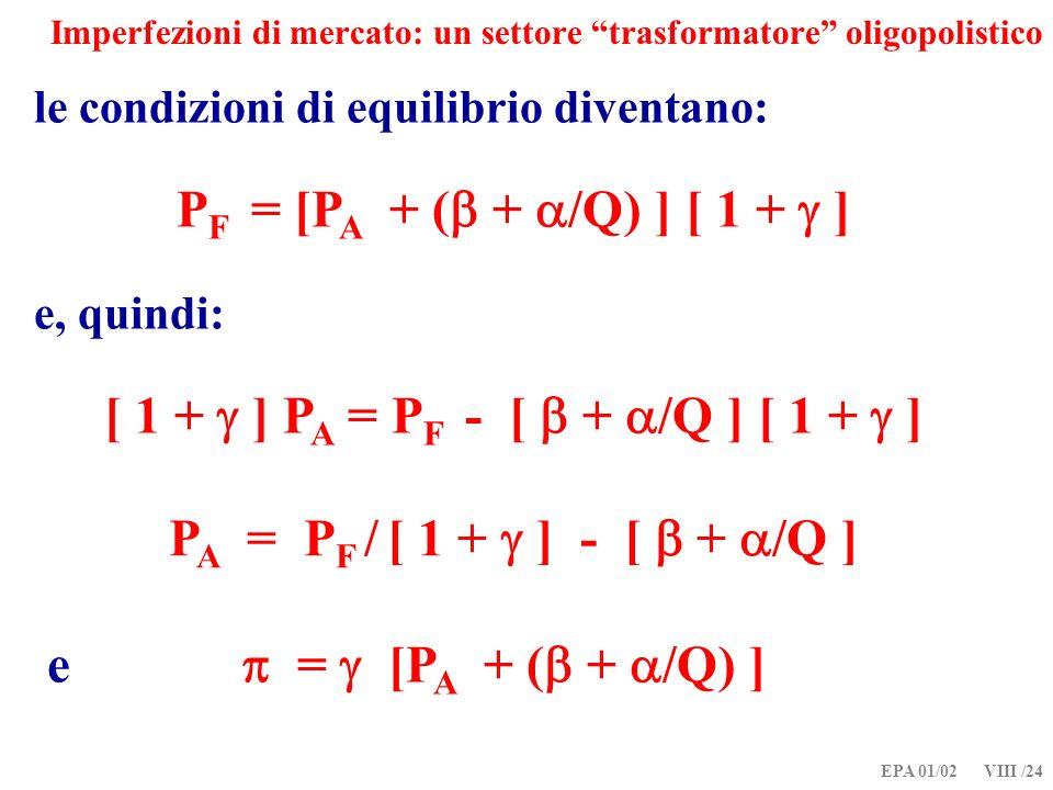 EPA 01/02 VIII /24 Imperfezioni di mercato: un settore trasformatore oligopolistico le condizioni di equilibrio diventano: P F = [P A + ( + /Q) ] [ 1 + ] e, quindi: [ 1 + ] P A = P F - [ + /Q ] [ 1 + ] P A = P F / [ 1 + ] - [ + /Q ] e = [P A + ( + /Q) ]