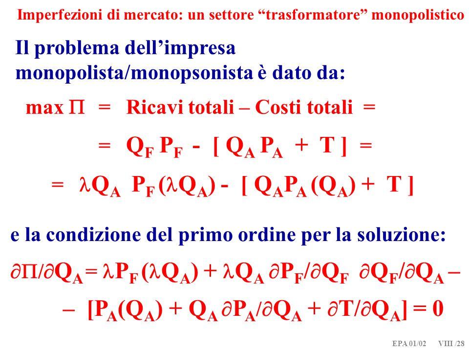EPA 01/02 VIII /28 Imperfezioni di mercato: un settore trasformatore monopolistico Il problema dellimpresa monopolista/monopsonista è dato da: max = Ricavi totali – Costi totali = = Q F P F - [ Q A P A + T ] = = Q A P F ( Q A ) - [ Q A P A (Q A ) + T ] e la condizione del primo ordine per la soluzione: / Q A = P F ( Q A ) + Q A P F / Q F Q F / Q A – – [P A (Q A ) + Q A P A / Q A + T/ Q A ] = 0